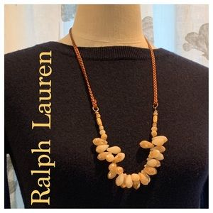 RALPH LAUREN Leather and Bead Necklace